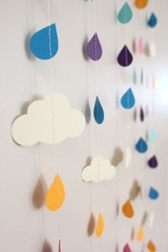 Rainbow Raindrops and Clouds Paper Garland - April Showers, Baby Showers, party decorations. $30.00, via Etsy.