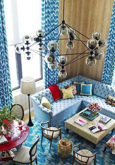 ambiance salon chic- idée déco en couleurs esthetiques et suspension design