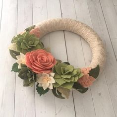 Felt flower wreath lace wreath succulent wreath felt