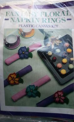 Colorful flowers Set your Easter table Includes yarn, plastic canvas and instructions  Sealed in package