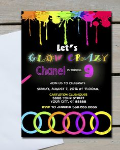 DIY Glow party invitations free printable Glow in