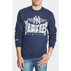Men's Mitchell & Ness 'New York Yankees' Crewneck Sweatshirt ($60) ❤ liked on Polyvore featuring men's fashion, men's clothing, men's hoodies, men's sweatshirts, blue navy, mens crew neck sweatshirts, mens sweatshirts and hoodies, mens crewneck sweatshirts and mens sweatshirts
