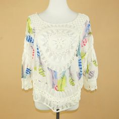 Summer Style Women Blouses Colorful Feather Print Lace Hollow Out Crochet Kimono Blouse Plus Size Shirt Tops Ropa Mujer 40303 Plus Size Shirts, Plus Size Blouses, Kimono Blouse, Hairpin Lace, Colorful Feathers, Feather Print, Blouse Styles, Women's Summer Fashion, Blouses For Women