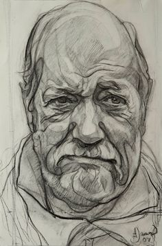 Sir Wally Herbert 2006 Charcoal on Paper 18 x 14/ 46 x 36