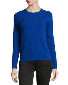 TARMP Neiman Marcus Cashmere Crewneck Sweater, Blue
