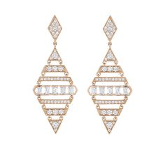 Penny Preville Moderne Large Diamond Shape Deco Earrings with baguettes in rose gold Diamond Hoop Earrings, Women's Earrings, Diamond Jewelry, Gold Jewelry, Statement Earrings, Tiffany Jewelry, Jewelry Stores Near Me, Bridal Jewelry Sets, Diamond Shapes