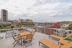 Rooftop terrace (accessed by way of the spiral staircase) with views of #rva skyline and #mcv / #vcumedicalcenter