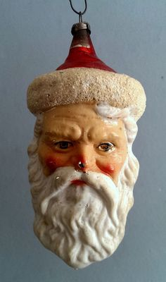 Antique German Blown Glass Santa Head Christmas Ornament Vintage Mercury