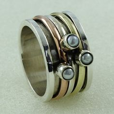 PEARL STONE GALLERY DESIGN 925 STERLING SILVER RING #SilvexImagesIndia #Spinner