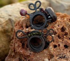 Stackable black oxidized silver sterling with colored gemstones. Can be fused together to create your own design.