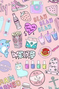 Cute Pastel Wallpaper, Rainbow Wallpaper, Cute Wallpaper Backgrounds, Cute Cartoon Wallpapers, Tumblr Wallpaper, Iphone Wallpaper Vsco, Emoji Wallpaper, Aesthetic Iphone Wallpaper, Tumblr Stickers