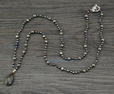 Handmade Pyrite & Hematite Labradorite Pendant Necklace.$70.00