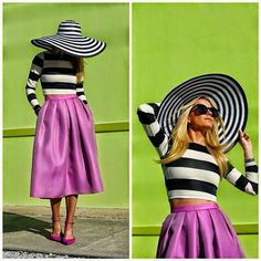 Hat, crop shirt with stripes and skirt!
