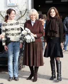 L-R) Actress Sofie Grabol looks on after presenting Camilla, Duchess of Cornwall and Crown Princess Mary of Denmark with gifts as they visit the set of Danish TV Series 'The Killing' on March 27, 2012 in Copenhagen, Denmark. Camilla, Duchess of Cornwall and Prince Charles are on the last day of a Diamond Jubilee Tour that has taken in Norway, Sweden and Denmark.