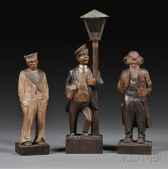 """SCIENCE, TECHNOLOGY & CLOCKS - SALE 2600M - LOT 208A - THREE GERMAN CARVED WHISTLERS, C. 1925, INCLUDING A """"SAILOR,"""" A """"DRUNK ON A LAMPOST,"""" AND AN OLD MAN, CLOCKWORK MECHANISM AND BELLOWS W - Skinner Inc"""