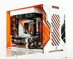 Computer pc orange white mod modification setup gaming computer rig tower