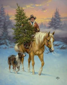 Western Christmas Cards from Leanin' Tree feature cowboys, horses, and other inspiring images of the Old West. Western Christmas, Christmas Horses, Country Christmas, Vintage Christmas, Christmas Artwork, Christmas Paintings, Christmas Scenes, Christmas Pictures, Art Occidental