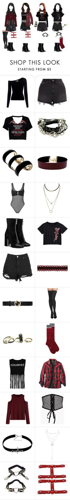 """[mv] debut - black widow {ignite}"" by galaxiumin ❤ liked on Polyvore featuring A.L.C., Ksubi, Boohoo, Elie Saab, Vanessa Mooney, Topshop, Gucci, Commando, GUESS and Marni"
