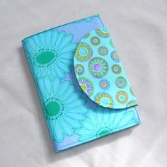 Kindle Cover, Nook Cover, Kobo Cover  Book Style eReader Cover  Aqua Blue and Lime Green Blooms