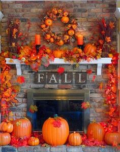 Fall feel and the base for my Halloween AND Thanksgiving decor too.if the kids could leave it alone. Fall Mantel Decorations, Thanksgiving Decorations, Halloween Decorations, Thanksgiving Nails, Mantel Ideas, Happy Thanksgiving, Mantelpiece Decor, Rustic Thanksgiving, House Decorations