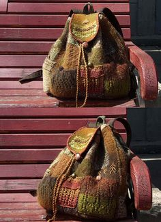 Unique Boho backpack Moss olive green brown by TextileBijou