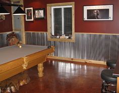 galvanized steel wainscot bar. Good idea for a man cave or a mans garage/shop