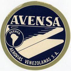 Avensa Airlines ~VENEZUELA~ Great Luggage Label, 1955