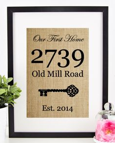House Warming Gift   New Home Housewarming Gift   Our First Home Burlap Print   Personalized Address Sign   New House Gift   New Homeowner by chathamplace on Etsy https://www.etsy.com/listing/223066452/house-warming-gift-new-home-housewarming
