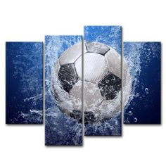 So Crazy Art® Blue 4 Piece Wall Art Painting Soccer In Water Pictures Prints On Canvas Abstract The Picture Decor Oil For Home Modern Decoration Print