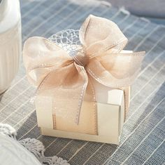 Champagne Pearl Sea Weddings , Coastal Wedding Candy Box with Ribbons and Flowers,DIY  Party Paper Favor Box , Wedding Favor Candy Box