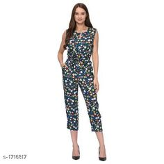 Jumpsuits Elegant Rayon Jumpsuit  *Fabric* Rayon  *Sleeves* Sleeves Are Not Included  *Size* S- 28 in, M - 30 in, L - 32 in, XL- 34 in, XXL- 36 in  *Length* Up To 46 in  *Type* Stitched  *Description* It Has 1 Piece Of Women's Jumpsuit  *Work * Printed  *Sizes Available* S, M, L, XL, XXL *    Catalog Name: Adeline Elegant Rayon Jumpsuits Vol 8 CatalogID_224551 C79-SC1030 Code: 424-1716817-