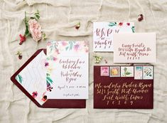 Burgundy #wedding #invitations - white invitations with floral motif and modern calligraphy  {Query Events}