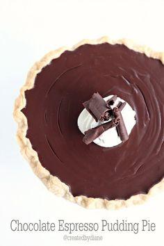 Homemade Chocolate Espresso Pudding Pie | createdbydiane.com
