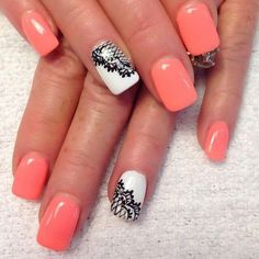 Lightsalmon paired with a black and white lace nails