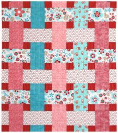 Gorgeous pink and teal blue with red baby quilt with Riley Blake Twice as Nice Baby Quilt by sassystitchinsisters... love the unique woven look.