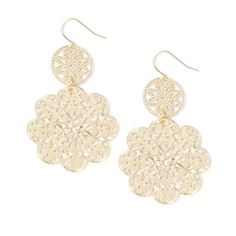 Metal Lace Circle and Flower Drop Earrings