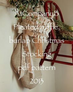 AtCompanyB original Burlap Christmas Stocking, with cotton ruffles and bows instant download PDF Pattern on Etsy, $12.95