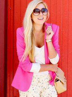 pink blazer, big glasses....fun :)