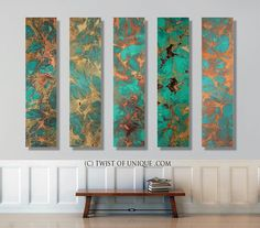 Rusted copper Abstract wall art / CUSTOM Art ( 75 Inch x 15 Inch)/ Industrial watercolor painting / Green, Blue, Sea glass, Ocean, water Copper Wall Art, Metal Wall Art, Abstract Images, Abstract Wall Art, Gold Leaf Art, Acrylic Painting Techniques, Modern Artwork, Custom Art, Watercolor Paintings