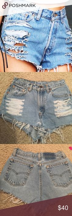 Vintage distressed Levi's jean shorts Super cute so fashionable right now. Distressed so well. Not from LF. Would fit between a 24/25 LF Shorts Jean Shorts