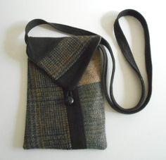 Small Cross Body Handbag Purse Recycled Men's by taylorfiberart