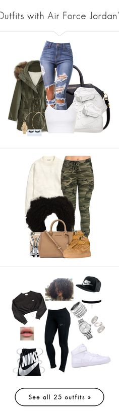 """""""Outfits with Air Force Jordan's"""" by barbiedatrillest ❤ liked on Polyvore featuring Givenchy, WithChic, NIKE, Forever 21, Gorgeous Cosmetics, Topshop, Michael Kors, H&M, Casetify and Calvin Klein"""