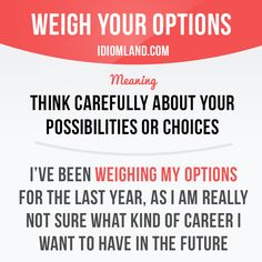 """""""Weigh your options"""" means """"to think carefully about your possibilities or…"""