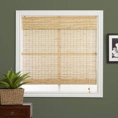 Add a natural touch to any room with these charming neutral Romanshades. Available in numerous width sizes, these bamboo windowshades fit a variety of window types and clean easily with afeather duste