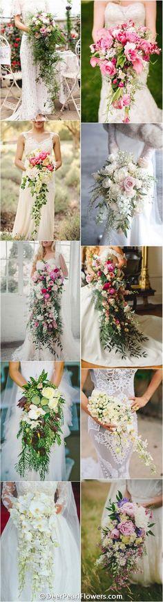 spring summer wedding bouquets / http://www.deerpearlflowers.com/cascading-wedding-bouquets/