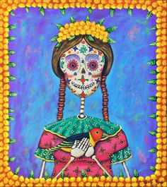 DAY OF THE DEAD SUGAR SKULL BY MEXICAN ARTIST GERMAN RUBIO www.germanrubio.com #DayOfTheDead #MexicanArt #MexicanFolkArt