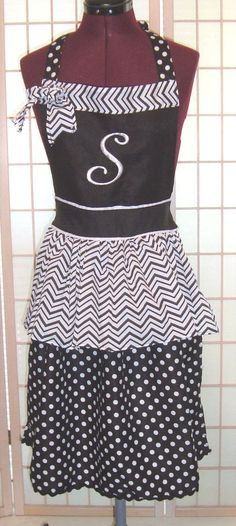 Cute S Monogram B/W Pinafore Peplum Polka Dot & Chevron Print Cooking Apron #Unbranded #Personalized