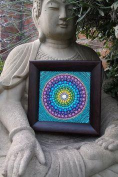 Original dot mandala painting  aquas  framed by StripeyCatsStudio