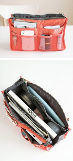Purse organizer - just take it out when you switch bags. Especially for purses without inner compartments
