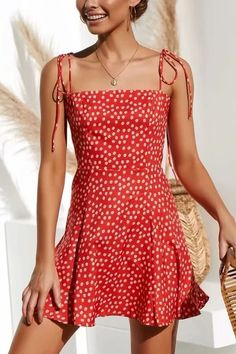 Women Red Floral Print Spaghetti Straps Tied Back Shirred Sexy Dress - Vestidos women dress chiffon dress floral print sleeveless summer dress brief casual short dresses Stylish Dresses, Elegant Dresses, Casual Dresses For Women, Sexy Dresses, Cute Dresses, Dresses For Work, Formal Dresses, Simple Dresses, Summer Casual Dresses